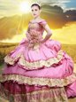 New Style Rose Pink Vestidos de Quinceanera Military Ball and Sweet 16 and Quinceanera and For with Lace and Appliques and Pick Ups Off The Shoulder Sleeveless Lace Up