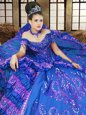 Ideal Off the Shoulder Royal Blue Satin Lace Up Quinceanera Gowns Sleeveless Floor Length Embroidery