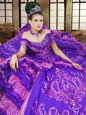 Super Lavender Ball Gowns Satin Off The Shoulder Sleeveless Embroidery Floor Length Lace Up Quinceanera Dresses