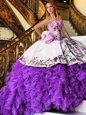 Nice White And Purple Organza Lace Up Sweet 16 Dress Sleeveless Floor Length Appliques and Embroidery