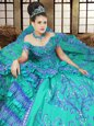 Affordable Turquoise Quinceanera Dress Military Ball and Sweet 16 and Quinceanera and For with Embroidery Off The Shoulder Sleeveless Lace Up