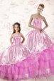 Spectacular Ruffled Floor Length Ball Gowns Sleeveless Lilac Vestidos de Quinceanera Lace Up