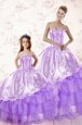 Attractive Ruffled Sweetheart Sleeveless Lace Up Sweet 16 Quinceanera Dress Lavender Organza