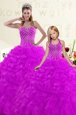 Sexy Purple Lace Up Sweetheart Beading and Ruffles Ball Gown Prom Dress Organza Sleeveless