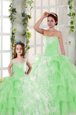 Glittering Lace Up Strapless Beading and Ruffled Layers and Ruching Quinceanera Dresses Organza Sleeveless