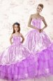 Modern Multi-color Organza Lace Up 15 Quinceanera Dress Sleeveless Floor Length Beading and Ruffles and Sequins