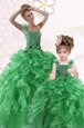 Popular Green Quince Ball Gowns Military Ball and Sweet 16 and Quinceanera and For with Beading and Ruffles One Shoulder Sleeveless Lace Up