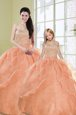 Orange Ball Gowns Sweetheart Sleeveless Organza Floor Length Lace Up Beading and Sequins Sweet 16 Quinceanera Dress