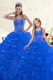 Delicate Blue Lace Up Quinceanera Gown Beading and Ruffles Sleeveless Floor Length