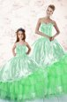 Green Lace Up Sweetheart Embroidery and Ruffled Layers Ball Gown Prom Dress Organza Sleeveless