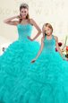 Excellent Sweetheart Sleeveless Sweet 16 Dresses Floor Length Beading and Ruffles Aqua Blue Organza