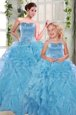 Lovely Organza Sweetheart Sleeveless Lace Up Beading and Ruffles Quinceanera Dresses in Aqua Blue
