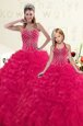 Hot Pink Sweetheart Neckline Beading and Ruffles 15th Birthday Dress Sleeveless Lace Up