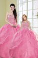 Sleeveless Beading and Ruffled Layers Floor Length Vestidos de Quinceanera