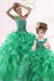 One Shoulder Green Organza Lace Up 15 Quinceanera Dress Sleeveless Floor Length Beading and Ruffles