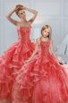 Coral Red Ball Gowns Organza Sweetheart Sleeveless Beading and Ruffled Layers Floor Length Lace Up Quinceanera Gown