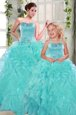 Perfect Organza Sweetheart Sleeveless Lace Up Beading and Ruffles Sweet 16 Dresses in Turquoise