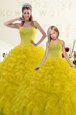 Gold Ball Gowns Sweetheart Sleeveless Organza Floor Length Lace Up Beading and Ruffles Quinceanera Gown