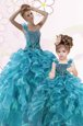 Fitting Aqua Blue Sweetheart Neckline Beading and Appliques and Ruffles Vestidos de Quinceanera Sleeveless Lace Up