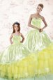 Excellent Sweetheart Sleeveless Organza Sweet 16 Quinceanera Dress Embroidery and Ruffled Layers Lace Up