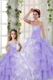 Lavender Ball Gowns Organza Strapless Sleeveless Embroidery and Ruffled Layers Floor Length Lace Up Quinceanera Dresses