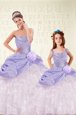 Hot Sale Sweetheart Sleeveless Sweet 16 Dresses Floor Length Beading and Ruffled Layers and Hand Made Flower Lavender Organza and Taffeta