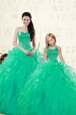 Attractive Floor Length Lace Up Quinceanera Dress Turquoise and In for Military Ball and Sweet 16 and Quinceanera with Beading and Ruffles