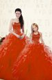 Unique Floor Length Red Quinceanera Dress Sweetheart Long Sleeves Lace Up