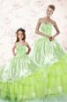 Eye-catching Sleeveless Floor Length Embroidery and Ruffled Layers Lace Up Quince Ball Gowns with Yellow Green