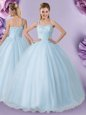 One Shoulder Light Blue Sleeveless Tulle Lace Up 15 Quinceanera Dress for Military Ball and Sweet 16 and Quinceanera