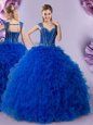 Sweet Straps Royal Blue Cap Sleeves Floor Length Beading and Ruffles Lace Up 15 Quinceanera Dress