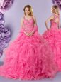 Straps Sleeveless Organza Vestidos de Quinceanera Lace Lace Up