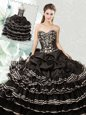 Pick Ups Ruffled Floor Length Ball Gowns Sleeveless Black Sweet 16 Dresses Lace Up
