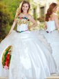 White Sleeveless Beading and Appliques and Ruffles Floor Length Sweet 16 Dresses