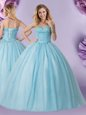 Light Blue Sweetheart Neckline Beading 15th Birthday Dress Sleeveless Lace Up