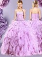 Elegant Lilac Sweetheart Neckline Beading and Ruffles Quinceanera Dresses Sleeveless Zipper