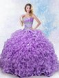 Floor Length Royal Blue Sweet 16 Dress Organza Sleeveless Beading and Ruffles