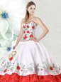 Organza and Taffeta Sweetheart Sleeveless Lace Up Embroidery and Ruffled Layers Sweet 16 Quinceanera Dress in White and Red