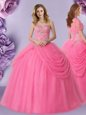 Affordable Tulle Sleeveless Floor Length Sweet 16 Dress and Beading and Pick Ups
