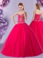 Custom Design Hot Pink Sleeveless Tulle Lace Up 15 Quinceanera Dress for Military Ball and Sweet 16 and Quinceanera