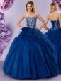 Strapless Sleeveless Lace Up Quinceanera Gown Royal Blue Organza