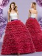 Glorious Wine Red Sleeveless Floor Length Lace and Ruffled Layers Lace Up Quinceanera Dresses