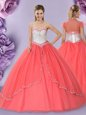 Free and Easy Beading Sweet 16 Dresses Watermelon Red Lace Up Sleeveless Floor Length