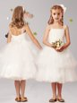 Vintage Ruffled Straps Sleeveless Zipper Flower Girl Dresses White Tulle