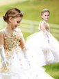 White A-line Ruffled Layers and Hand Made Flower Flower Girl Dresses Zipper Organza Sleeveless