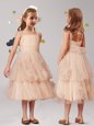 Customized Straps Sleeveless Zipper Tea Length Appliques and Ruffles and Bowknot Flower Girl Dresses