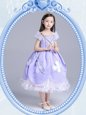 Cute Square Tea Length Ball Gowns Short Sleeves Lavender Flower Girl Dress Zipper