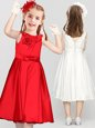 Elegant Scoop Sleeveless Clasp Handle Tea Length Bowknot and Hand Made Flower Flower Girl Dresses
