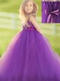 Straps Eggplant Purple Sleeveless Tulle Zipper Flower Girl Dresses for Party and Quinceanera and Wedding Party