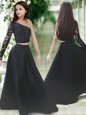 Trendy One Shoulder Floor Length Black Flower Girl Dresses for Less Satin Long Sleeves Lace